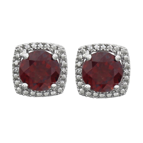 Sterling Silver Mozambique Garnet & .015 CTW Diamond Earrings
