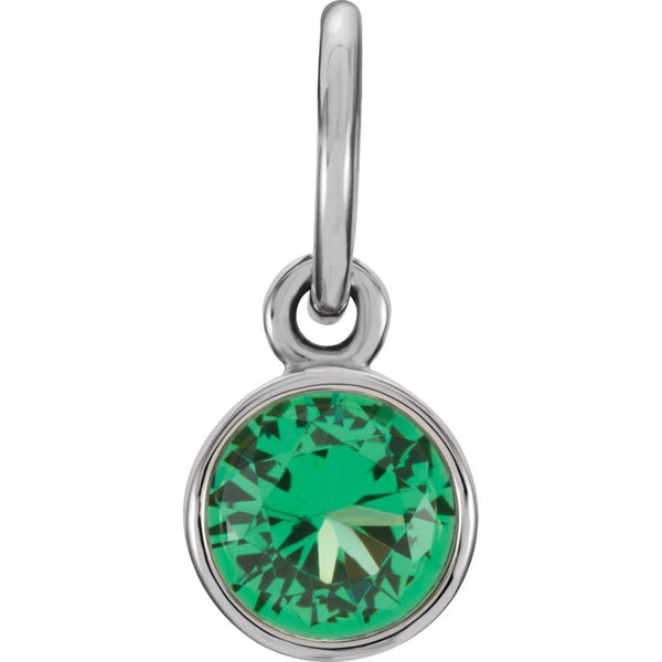 14k White Gold Imitation Emerald Birthstone Charm