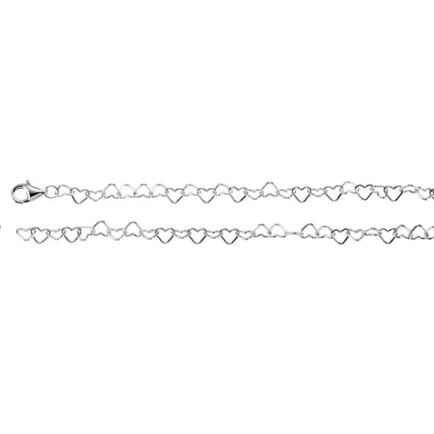 4.5 mm Heart Link Chain in Sterling Silver ( 18.00-Inch )