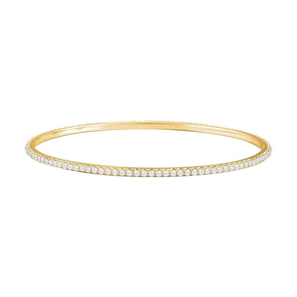14k Yellow Gold 3 CTW Diamond Stackable Bangle Bracelet