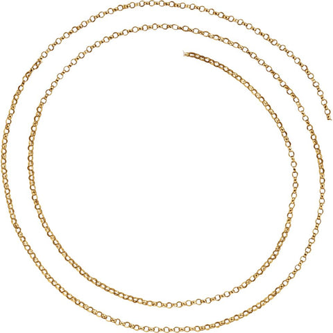 1.5 mm Hollow Belcher Rolo Chain in 14k Yellow Gold ( 16-Inch )