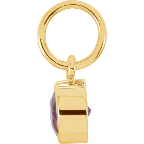 14k Yellow Gold Imitation Amethyst Birthstone Charm