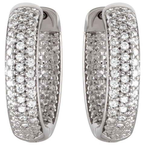 Sterling Silver 14.28mm Cubic Zirconia Inside/Outside Hoop Earrings