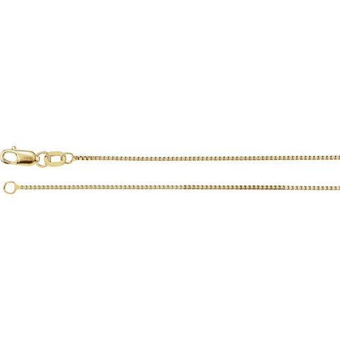0.75 mm Box Chain in 14k Yellow Gold ( 18 Inch )