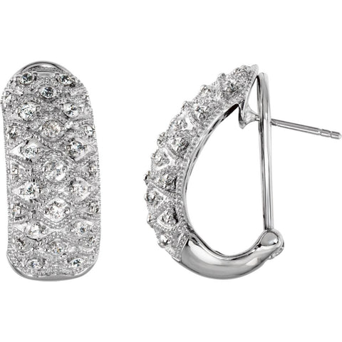 Pair of Cubic Zirconia Hoop Earrings in Sterling Silver