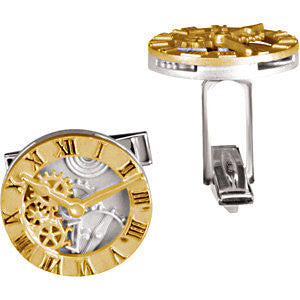 14k Yellow Gold & Sterling Silver Clock Design Cuff Link-Each