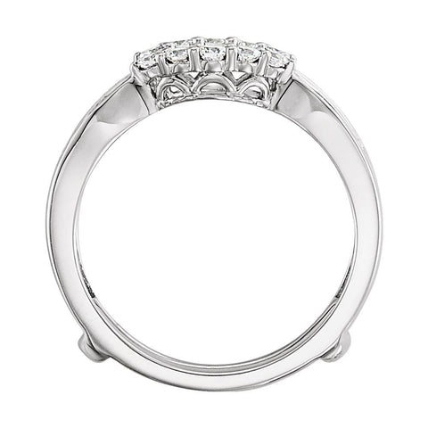 14k White Gold 1/2 CTW Diamond Ring Guard , Size 7