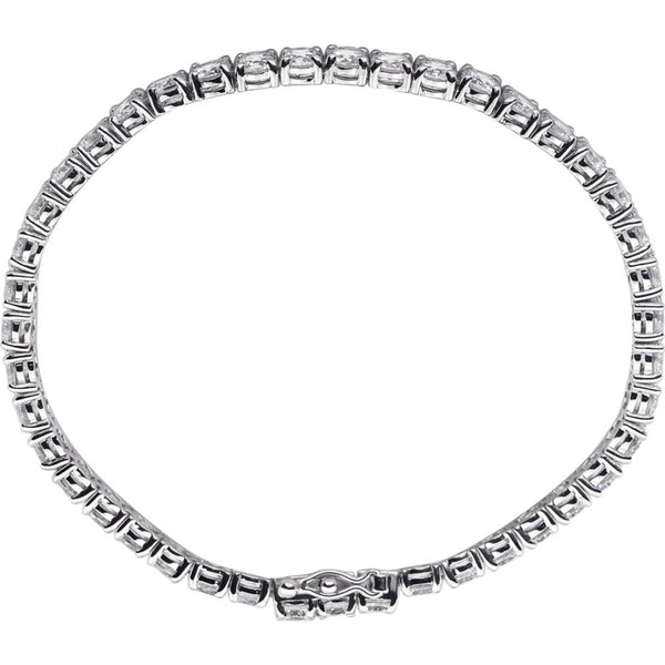 Sterling Silver 4mm Round Cubic Zirconia Bracelet