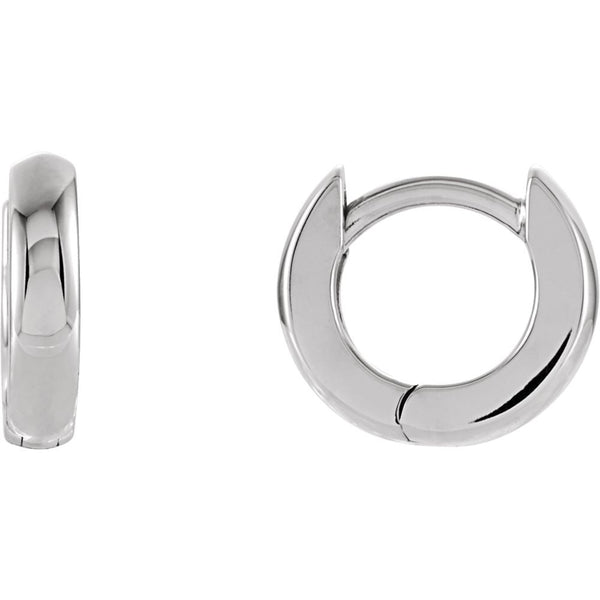 14k White Gold 9.5mm Hinged Earrings