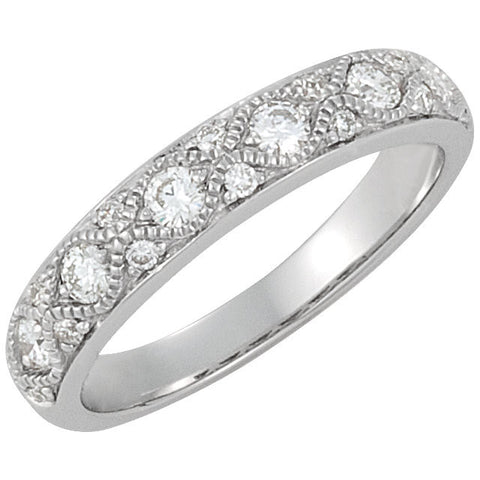 14k White Gold Diamond Anniversary Band, Size 7