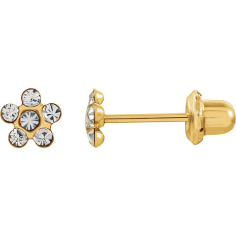 "14k Yellow Gold Imitation ""April"" Youth Birthstone Flower Inverness Piercing Earrings"