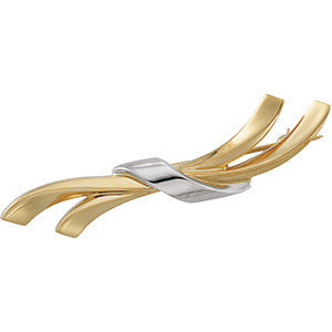 14k White Gold Two Tone Fashion Brooch