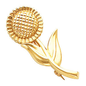 18k Yellow Gold Sunflower Brooch