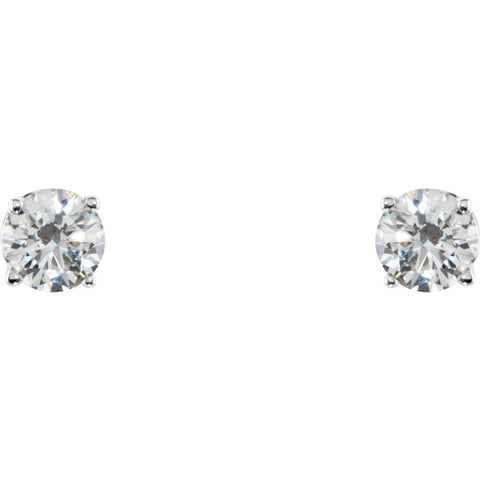 Sterling Silver 4mm Round Cubic Zirconia Earrings