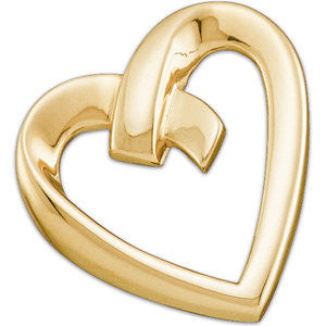 14k Yellow Gold Heart Pendant Slide