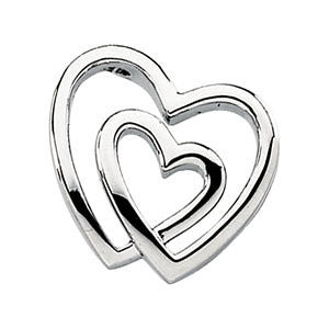 14k White Gold Double Heart Pendant