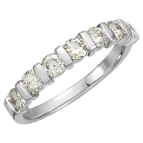 03.00 mm = 3/4 CTTW Created Moissanite Anniversary Band in 14k White Gold ( Size 6 )