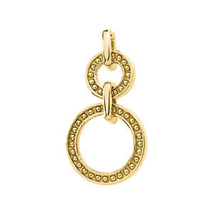 14k Yellow Gold Beaded Double Circle Pendant