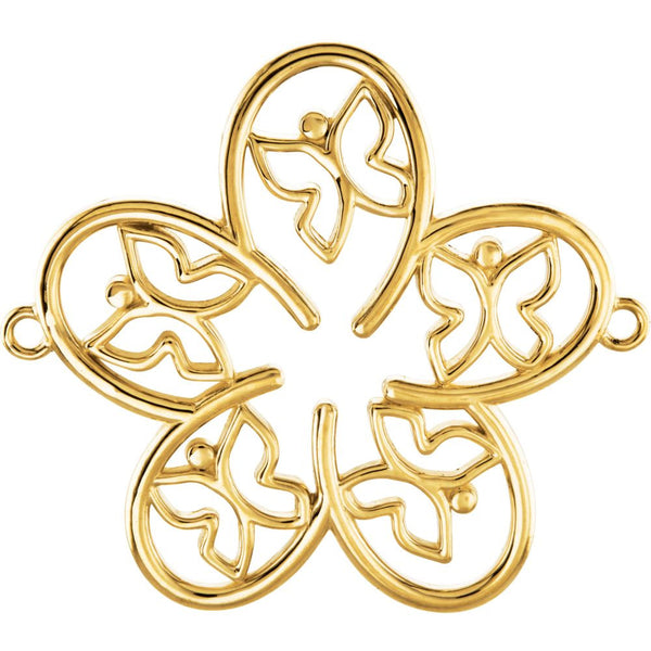 14k Yellow Gold Flower & Butterfly Center