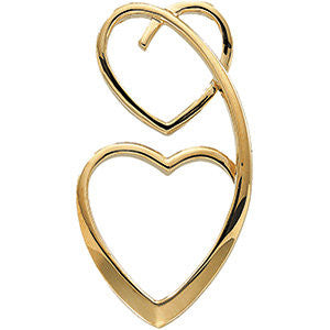 14k Yellow Gold Double Heart Pendant