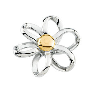 14K White & Yellow Gold Floral-Inspired Pendant Slide