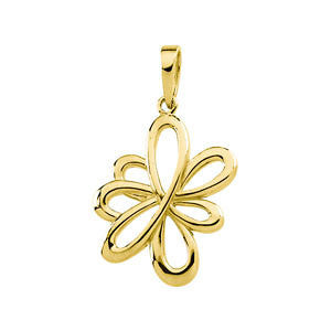 14k Yellow Gold Floral-Inspired Pendant