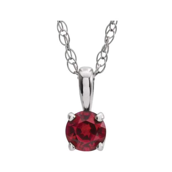 "14k White Gold Imitation Ruby ""July"" Birthstone 14"" Necklace"