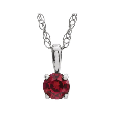 "14k White Gold Imitation Ruby ""July"" Birthstone 14-inch Necklace for Kids"
