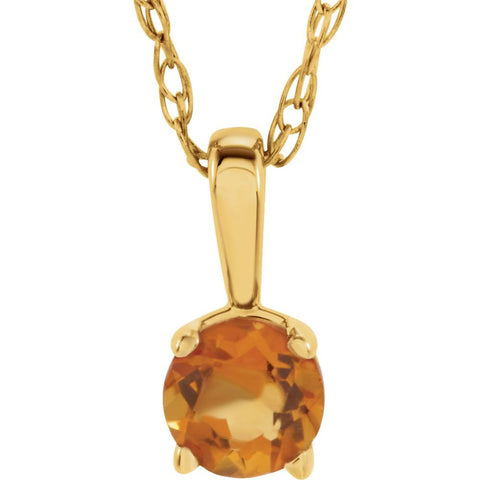 "14k Yellow Gold Imitation Citrine ""November"" Birthstone 14-inch Necklace for Kids"