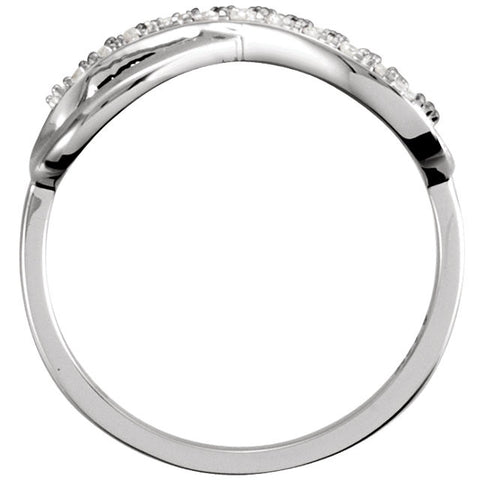 14k White Gold .05 CTW Diamond Infinity-Inspired Ring, Size 7