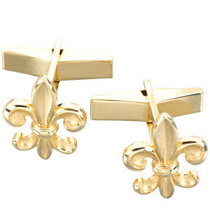 Pair of Fleur-de-Lis Cuff Links in 14k Yellow Gold