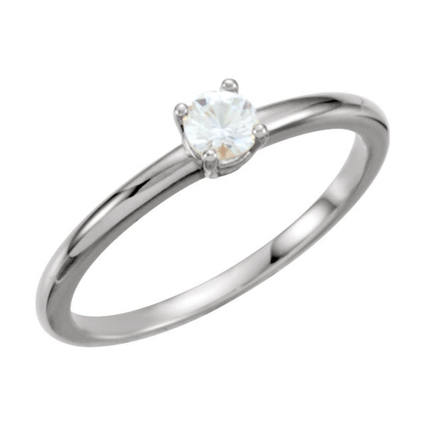 "Sterling Silver Imitation Diamond ""April"" Youth Birthstone Ring, Size 3"