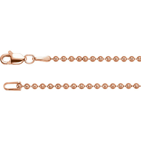 "14k Rose Gold 1.8m Hollow Bead 18"" Chain"