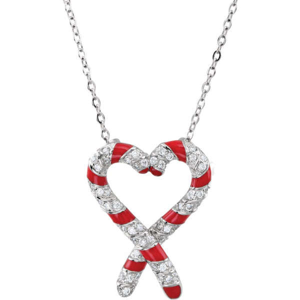 "Sterling Silver Cubic Zirconia Candy Cane Legend 18"" Necklace"