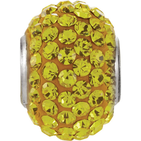 Kera Citrine-Colored Crystal Pave' Bead with November Birthstone in Sterling Silver