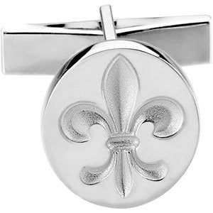 Metal Fashion Fleur De Lis Cufflink in Sterling Silver