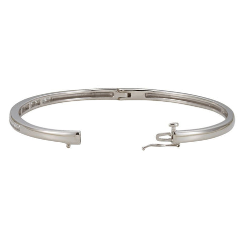 14k White Gold 5/8 CTW Diamond Bangle Bracelet