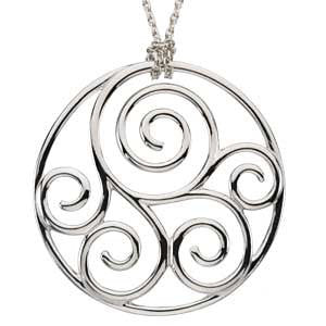 Scroll Fashion Pendant in Sterling Silver