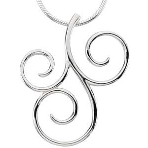 Scroll Fashion Pendant in 14K White Gold