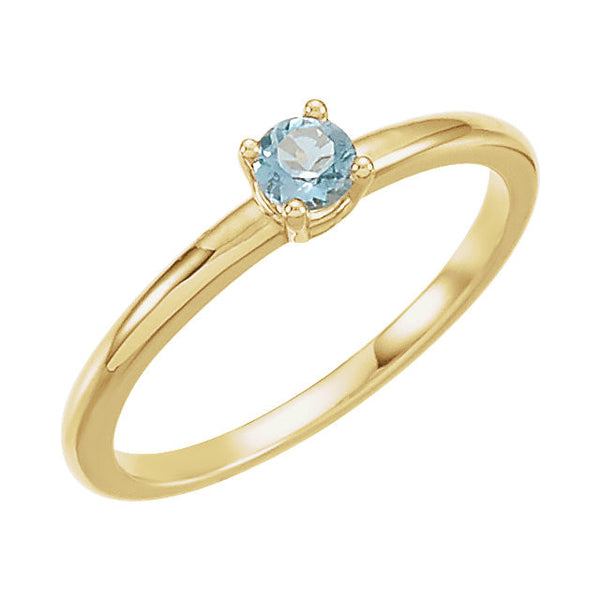 "14k Yellow Gold Aquamarine ""March"" Youth Birthstone Ring, Size 3"