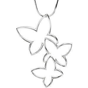 Butterfly Metal Fashion Pendant in 14k White Gold