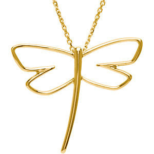 Metal Fashion Dragonfly Pendant in 14k White Gold