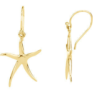 14k Yellow Gold Starfish Earrings