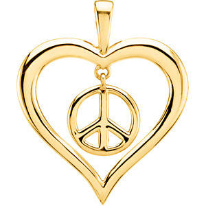 Sterling Silver Heart Peace Sign Pendant