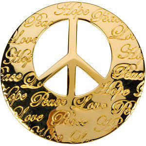 Hope, Life, Peace, Love Engraved Pendant in 14K Yellow Gold