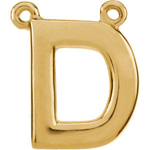 "14k Yellow Gold Letter ""D"" Block Initial Necklace Center"