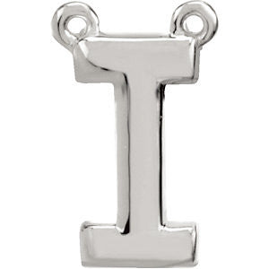 "Sterling Silver Letter ""I"" Block Initial Necklace Center"