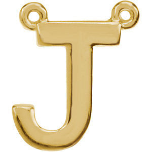 "14k Yellow Gold Letter ""J"" Block Initial Necklace Center"