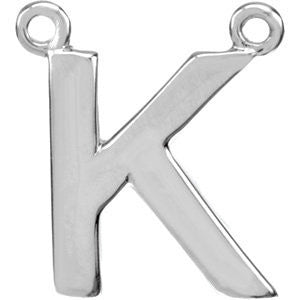 "Sterling Silver Letter ""K"" Block Initial Necklace Center"