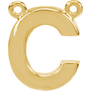 "14k Yellow Gold Letter ""C"" Block Initial Necklace Center"